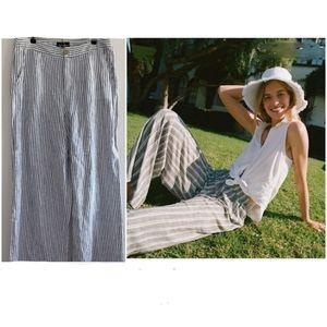 Tahari Striped High Rise Wide Leg Linen Pants